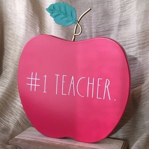 NEW Rae Dunn #1 Teacher Wood Base Desk Sign